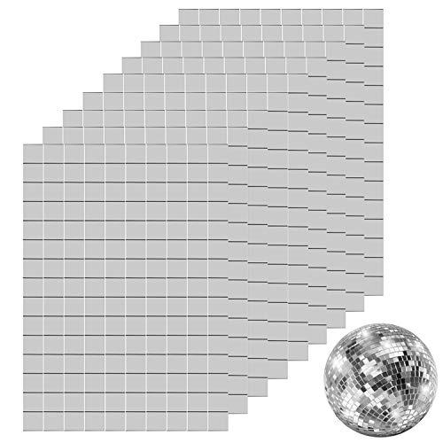 Ruisita 1350 Pieces Self-Adhesive Mini Square Glass Mirrors Mosaic Tiles Mirror Mosaic Stickers for DIY Craft Decoration, 1 x 1 cm
