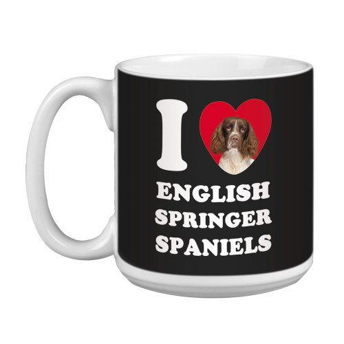 Tree Free Greetings XM29048 I Heart English Springer Spaniels Artful Jumbo Mug, 20-Ounce