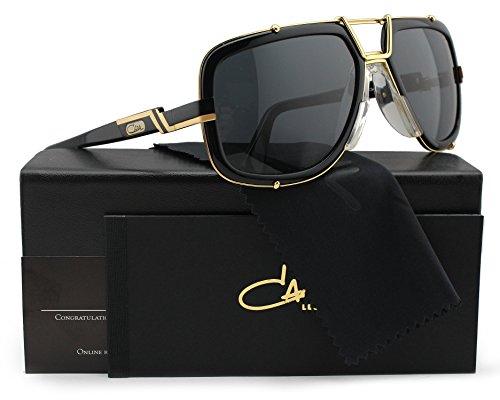 bb57fae9e8 Cazal 656 3 Sunglasses Shiny Black with Gold w Crystal Grey (001 ...