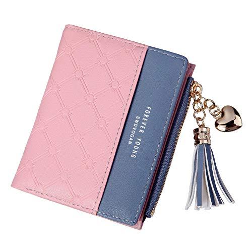 Finetoknow Wallet Purse Card Cases Money Organizers Money Coin Cards Bag,,Women Tassel Zipper Purse PU Leather Patchwork Color Wallet Money Card Holder Bag Wallets Gifts