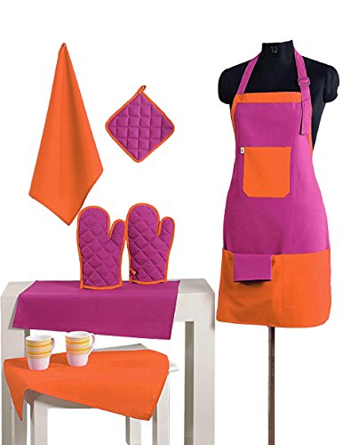 2 Color Cotton Chef's Apron Set with Pot Holder, Oven Mitts & Napkins - Perfect Home Kitchen Gift or Bridal Shower Gift by Swayam