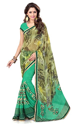 Mirchi Fashion Women's Graceful Lace Work Faux Georgette Saree Free Size Green