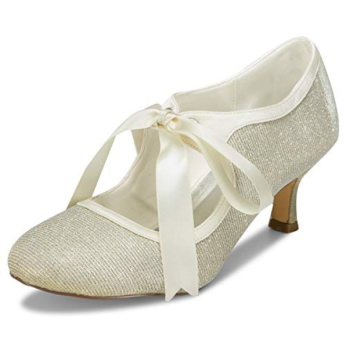 (JIAJIA 140311 Women's Bridal Shoes Closed Toe Stiletto Heel Lace Satin Pumps Ribbon Tie Wedding Shoes Color Gold,Size 10.5 B(M) US/42 EU)