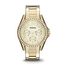 Fossil Women's Riley Quartz Stainless Steel Chronograph Watch, Color: Gold (Model: ES3203)