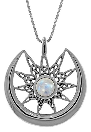 "Jewelry Trends Sterling Silver Celtic Star Sun Crescent Moon Pendant with Moonstone on 18"" Necklace"