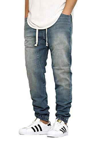 URBANJ Men's Slim FIT Drop Crotch Denim Jogger Pants S-5XL (M(32), Vintage) (Sweatpants That Look Like Jeans For Men)