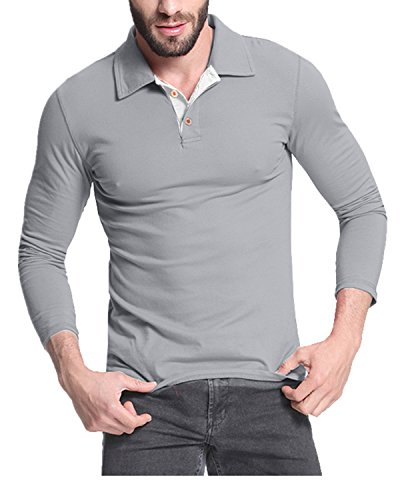 MODCHOK Men's Long Sleeve Polo Shirt Tee Shirts Cotton V Neck Tops