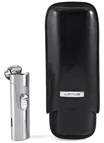 Lotus 50-Stick Humidor Gift Set Black Oak with L32 Lighter by Lotus (Image #2)