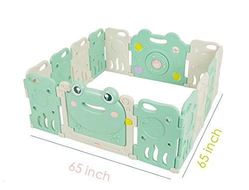 Baby Playpen - Kids 14 Panel Activity Centre Safety Play Yard, Home Indoor Outdoor New Pen - Frog Design