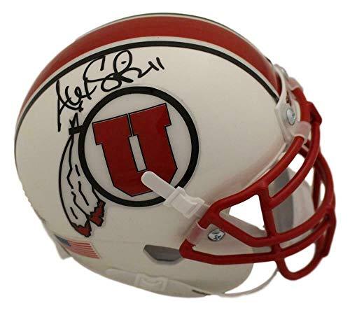 Alex Smith Autographed/Signed Utah Utes White Mini Helmet BAS