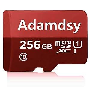 Adamdsy Tarjeta Micro SD 256 GB, microSDXC 256 GB Tarjeta De Memoria + Adaptador SD para cámaras, tabletas y Android Smartphones (R158-CR) (256GB)