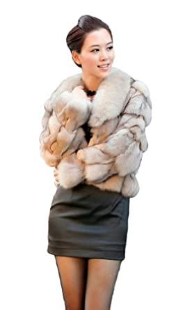 Queenshiny Women's Natural Blue Fox Fur Coat Jacket With Fox ...