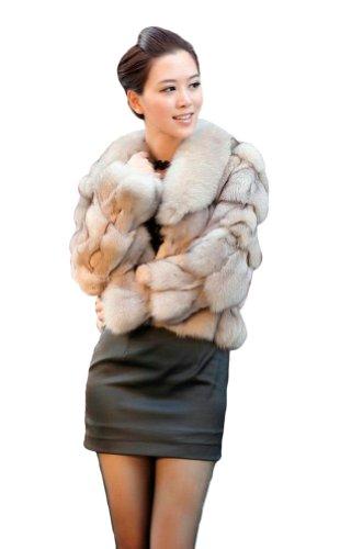 Queenshiny Women's Natural Blue Fox Fur Coat Jacket with Fox Collar-Natural-XS(0-2) - Blue Fox Fur Coat Jacket