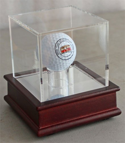 Golf Ball Display Stand Case, Cherry Finish, GB13 (Cherry Stand) - One Ball Display Case