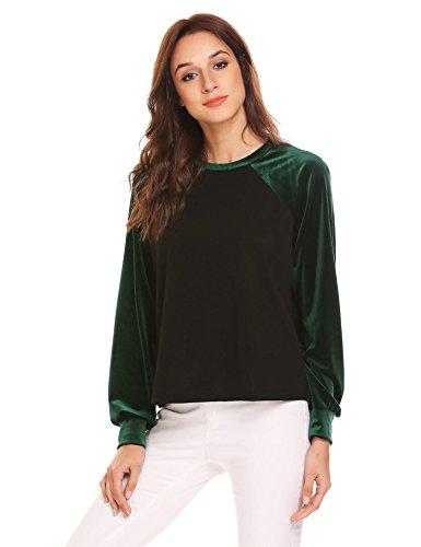 Crew Lightweight Pullover (Zeagoo Women Velvet Shirt Long Sleeve Crewneck Lightweight Plain Sweatshirt Top)