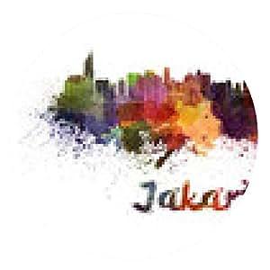 alfombrilla de ratón horizonte de Jakarta en acuarela - ronda - 20cm