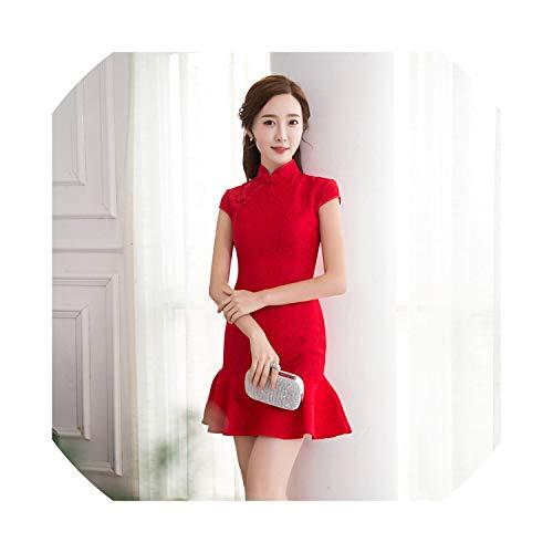 (HappyWe New Fishtail Lace Cheongsam Slim Modified Cheongsam Dress Fashion Sexy Skirt Cheongsam,Red Lace Fishtail 1819,XL)
