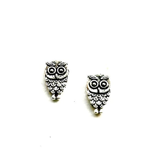 Owl Stud Earrings Miniature owl post handmade antique silver by Aunt Matilda
