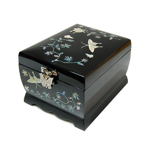 Wooden Musical Jewelry Ring Boxes Butterfly Mother of Pearl Necklace Hooks Inlaid Trinket Boxes Makeup Mirror Lid 2 Darwers Gift Chest for Women ()