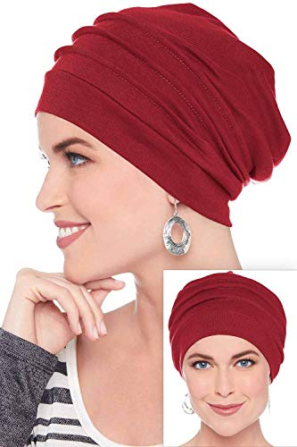 Headcovers Unlimited Slouchy Snood-Caps for Women with Chemo Cancer Hair Loss Cabernet