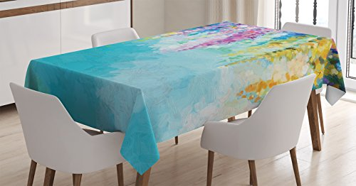 Ambesonne Flower Tablecloth, Abstract Ivy Romantic and Landscape Spring Floral Artwork Nature Theme, Dining Room Kitchen Rectangular Table Cover, 52