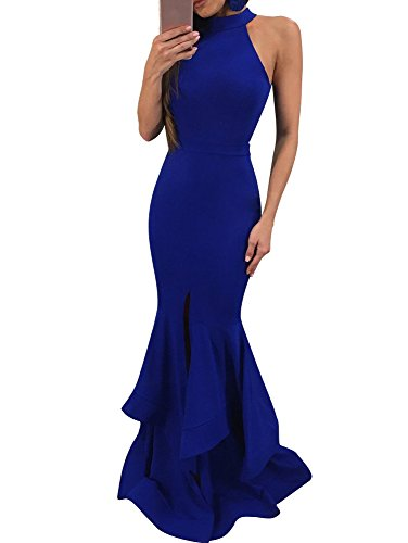 GOBLES Womens Elegant Ruffles Sleeveless Split Evening Mermaid Maxi Dress Royal Blue