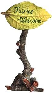 "Top Collection Miniature Fairy Garden and Terrarium ""Fairies Welcome"" Sign Statue"