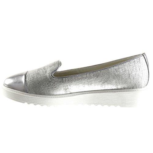Angkorly - Chaussure Mode Mocassin bi-matière femme peau de serpent tréssé brillant Talon compensé plateforme 3 CM - Argent