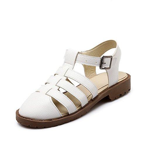 AllhqFashion Puntera Cerrada Hebilla Sólido Mini Tacón Sandalias de vestir Blanco