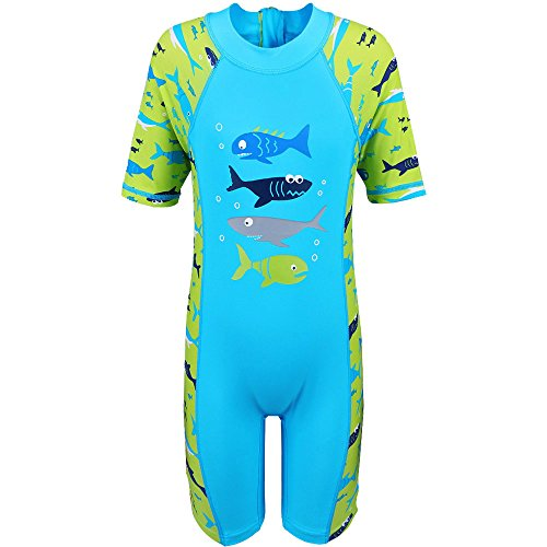 TFJH Kids Boys Swimsuit UPF 50+ UV Sun Protective One-Piece Four Fish 6-7Years (Swimwear Sun Protection compare prices)
