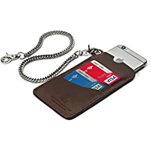"iPhone 6 & 6s Sleeve: Premium Handcrafted Leather Protects iPhone From Drops, Broken Glass & Loss. - 2 Pockets holds 4 Credit Cards - 18"" Chain - 100% Satisfaction Guarantee."