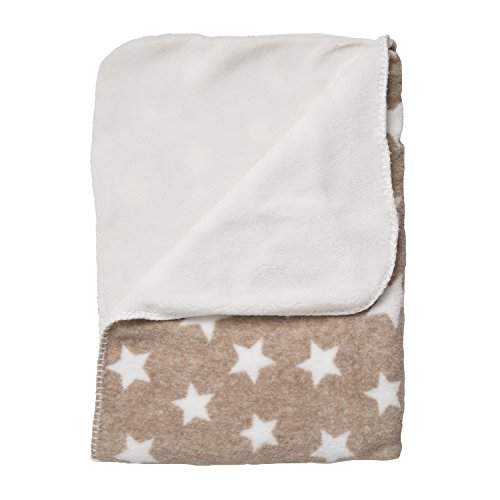 "Soft Warm Cozy Fuzzy Fluffy Fleece Baby Blanket for Crib, Stroller, Travel, Outdoor, Nursing Cover Tummy Time Machine Washable 29.5"" x 39.5""FOR PETS TOO - Beige / Tan Stars ()"