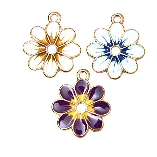 Monrocco 18Pcs Enamel Sunflower Charm Flower Charm Pendants for Jewelry Making Bracelet Necklace (Blue, Yellow, - Pendant Dangle Charm Enamel