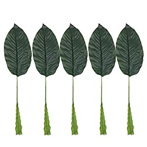 Hockus Decorations 5Pcs Useful Feel Simulation Leaf Decorative Leaves Artificial Plants Tropical Palm Home Garden Bird of Paradise Leaf Decor L33 - (Color: Army Green) 43