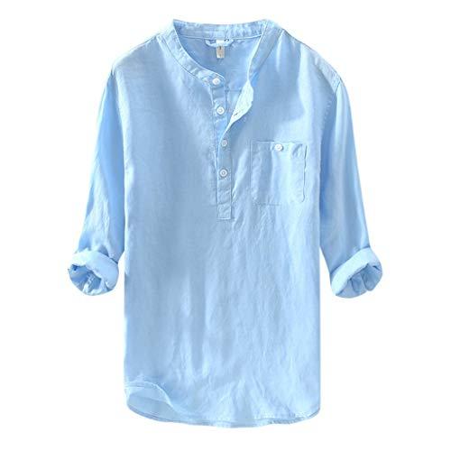 Vowes Mens Shirt Button Down Cotton Linen Shirts Long Sleeve Loose Summer Beach Casual Shirt Tops