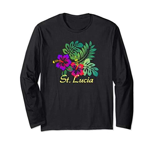 (St. Lucia Beach Tropical Flower Surf Vacay Long Sleeve T-Shirt)