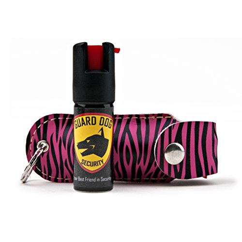 Guard Dog Security Pepper Spray Keychain, Red Hot Self Defense Spray with UV Dye - Choose a Leather Holster Color, Zebra - (Zebra Chain)