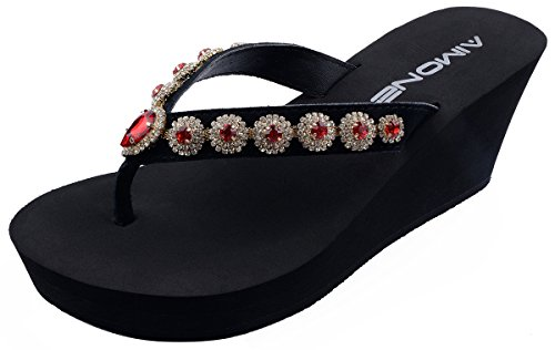 AIMONE Womens Olina Red Crystal High Heel Flip Flops