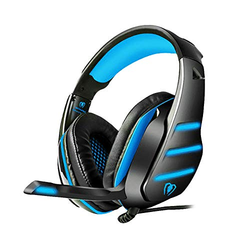 (ZKxl8ca Beexcellent GM-3 Gaming Headset Wired Stereo LED Light Noise Isolating Headphone Blue)