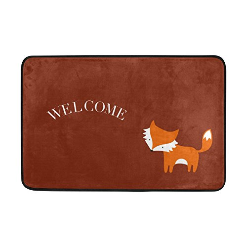 Yochice Non-slip Door Mat Home Decor, Cute Little Red Fox Welcome Durable Indoor Outdoor Entrance Doormat 23.6 X 15.7 Inches