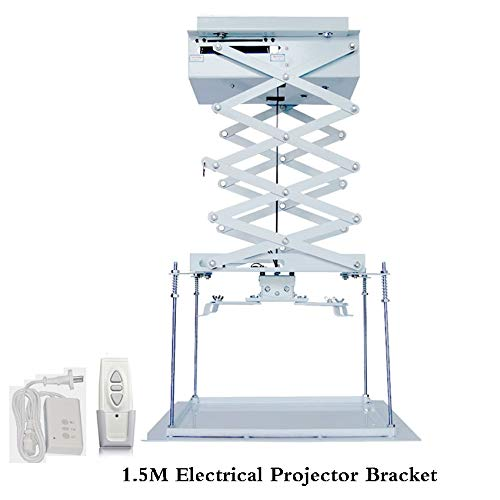 Projector Lift Model - Ochoos 1.5M Motorized Scissor Projector Lift Electric Remote Control Ceiling Bracket for Cinema Church Hall School Family Good Quality