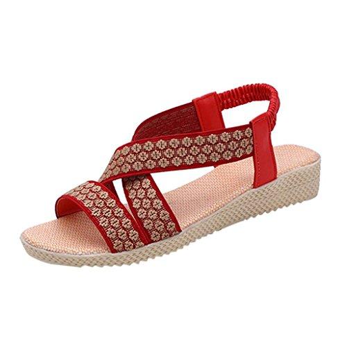 Voberry Sandalen, Sommer Damen Sandalen Mode Cross Flache Römische Schuhe Casual Shoes Rot