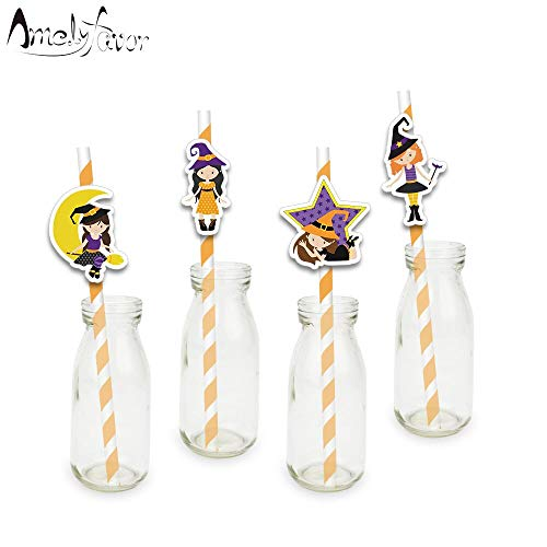 Paper straws - Halloween Theme Series 5 Party Straws Magic Witches Moon Star Paper Straws Halloween Party Decorations Supplies