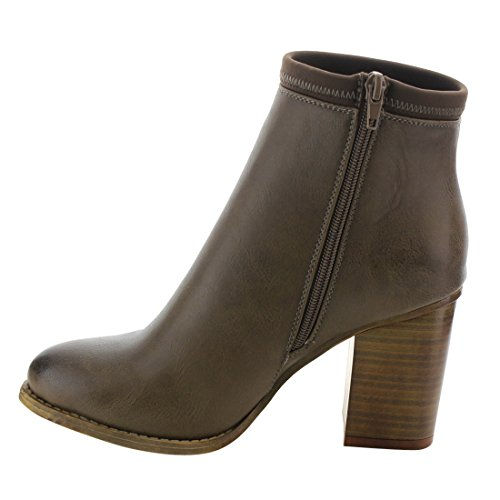 Side Women's Stacked Taupe Booties Breeze Ankle Nature Zipper EK43 Chunky Heel qEtFw1O