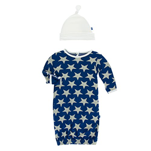 Kickee Pants Little Boys Print Layette Gown & Single Knot Hat Set - Vintage Stars, 0-3 Months (Dress Thyme)