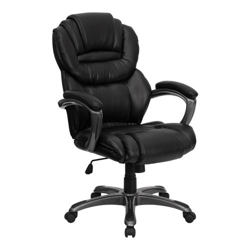 Offex OF-GO-901-BK-GG High Back Black Leather Executive Office Chair with Leather Padded Loop Arms ()