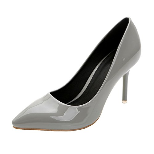 HooH Women's Patent Leather Simple Pointed Toe Stiletto Ballroom Pumps Grey VgaWmGr1jJ