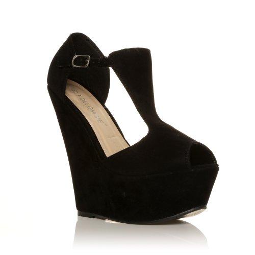 ENYA - Chaussures à plateforme - Bout ouvert - Noir - Effet daim
