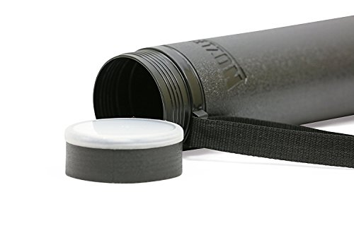Nozlen Document Poster Tube - Black Plastic Storage Tube Expands from 24.5'' up to 40'' with Clear ID Card Cap - Water and Light Resistant - Telescoping For Posters and Drawings Model DT3001-2 Pack by Nozlen