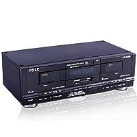 Pyle Home Digital Tuner Dual Cassette Deck | Reproductor multimedia | Dispositivo de grabación de música con cables RCA | Hardware de montaje en rack conmutable | Selector de cinta CrO2 | Contador de cinta de 3 dígitos incluido - 110V /220V